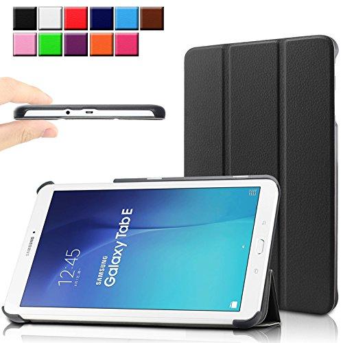 Infiland Samsung Galaxy Tab E 9.6 Etui Housse Case- PU cuir Etui En Cuir Végétale Fin De Haute Qualité stand Shell Case Pour La Tablette Samsung Galaxy Tab E 9.6 T560N 24,3 cm (9,6 Pouces) Tablet-PC(Noir)