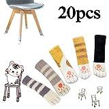 Gasea 20pcs Chaussettes de Chaise Jambe Chaussette 5 Set Pied de Table Chaussettes à Tricoter en Forme Chat Meubles Jambe Tapis Protecteur...