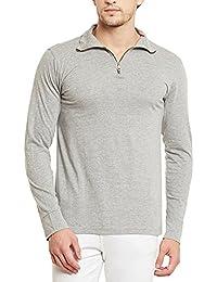 Gritstones Grey Melange Full Sleeves High Neck T- Shirt GSPSFS60053GMEL