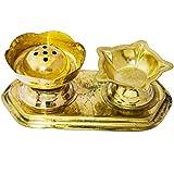 Exotic India Incense Holder and Diya Set - Brass