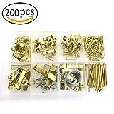 assortiti kit per appendere quadri pesanti assortimento con filo, foto da appendere, ganci, chiodi e Hardware per cornici (200pz)