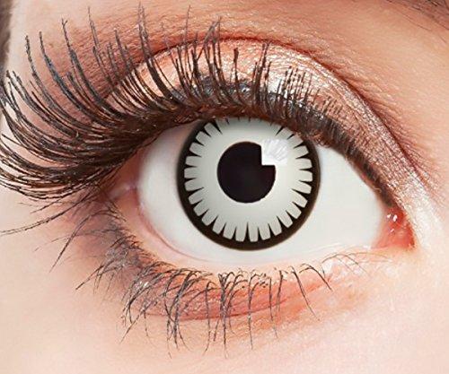 Farbige Kontaktlinsen Ohne Stärke mit schwarzem Rand Linsen Weiße für Halloween Party Fasching Cosplay Kostüm White Zombie Vampir Motiv Weiß Spikes