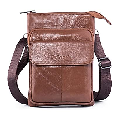 Hengying Mens Genuine Leather Multifunctional Outdoor Small Gadget Pouch Belt Bag Hiking Waist Pack Crossbody Shoulder Bag with Pen Holder - low-cost UK light store.
