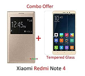 RidivishN (COMBO OFFER) for Xiaomi Redmi Note 4 / Redmi Note 4 - - - Window Leather Finish Flip Cover (Gold ) + Premium Tempered Glass Screen Protector - - - ( Transperent )