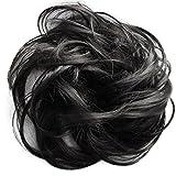 PRETTYSHOP Haarteil Haargummi Hochsteckfrisuren unordentlicher Dutt leicht gewell naturschwarz #2 G41B