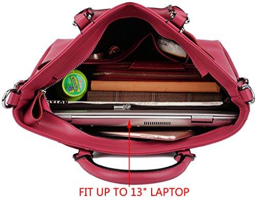 Yaluxe Donna pelle Laptop Lavoro Borse a spalla Shopping Borse a tracolla Rosa