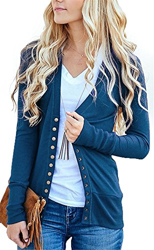 Cnfio Damen strickjacke Casual Cardigan Langarm Knopf V-Ausschnitt Outwear Mantel Winter Cyan XL (Strickjacke Lila)