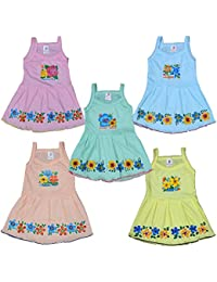 Eazy Trendz Girl's Cotton Thinnest Fashion Flower Printed Sleeveless Frock Gown Set of 5 (Multicolor, 6-12 Months)