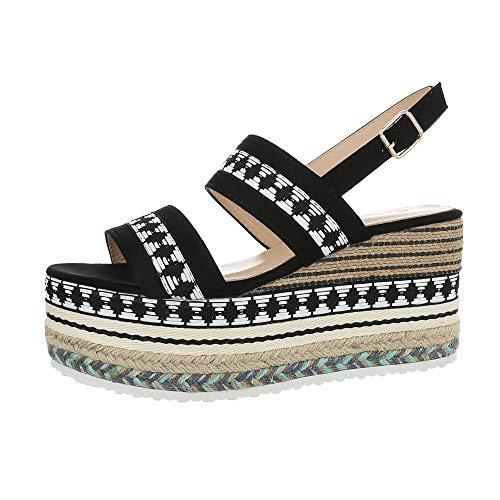 Ital-Design Damenschuhe Sandalen & Sandaletten Keilsandaletten Synthetik Schwarz Multi Gr. 38 Weiß Multi Strap