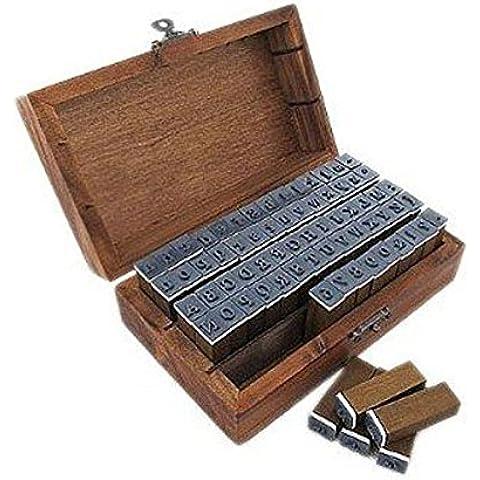 PIXNOR 70pcs alfabeto Letras número símbolo sellos de goma sellos con caja madera