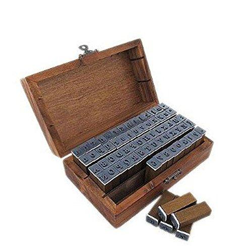 NUOLUX 70st Vintage-Stil Alphabet Buchstaben Anzahl Symbol Stempel Dichtungen in Holzkiste Fall - Gummi-stempel Mit Dem Namen