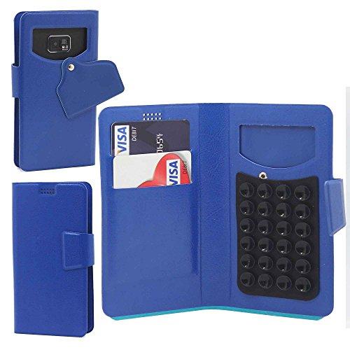 Pour LG G Flex 2 F510L Portefeuille et étui de protection à ventouses en cuir PU très fin de très grande qualité avec stylet et Écouteurs intra-auriculaires - Blanc/White - par Gadget Giant® Bleu/Blue