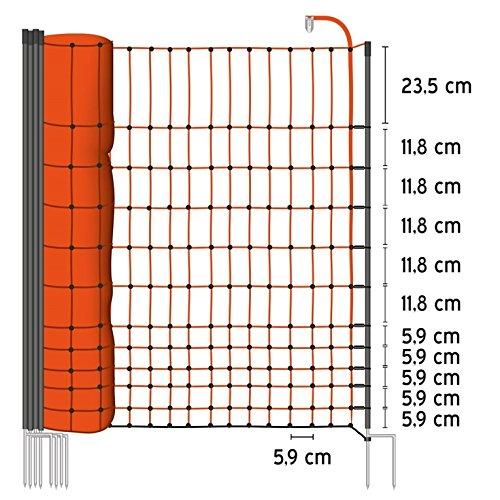 *50m Geflügelnetz von VOSS.farming, Euronetz, 112cm, 2 Spitzen Geflügelzaun Hühnerzaun Gänsezaun*