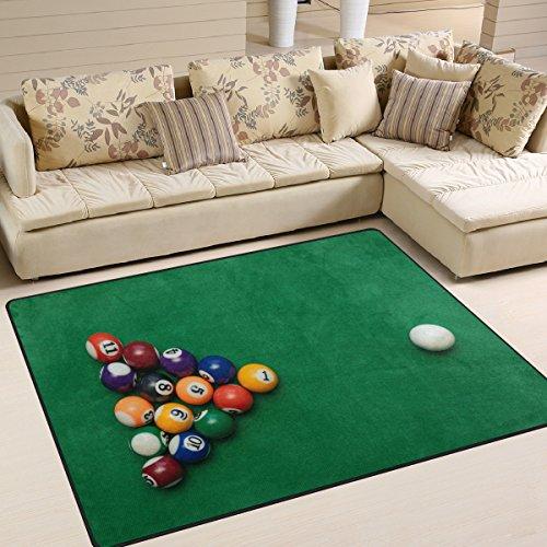 Use7 American Billard Pool auf grünem Tisch, Teppich für Wohnzimmer Schlafzimmer, Textil, Mehrfarbig, 160cm x 122cm(5.3 x 4 feet)