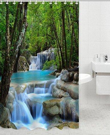 BBFhome Hem Gewichte Duschvorhang 150 x 180 cm Wasserfall Landschaft Wasserdicht Badezimmer-Produkte Kreative Polyester Bad Vorhang
