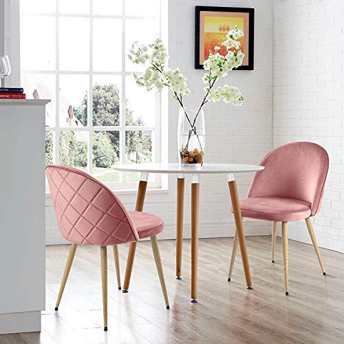 Modern Luxe  Esszimmerstuhl Wohnzimmerstuhl Samt Stoff Polsterstuhl Loungesessel Weicher Sitz und Rücken, Esszimmer Sessel mit Holzernen...