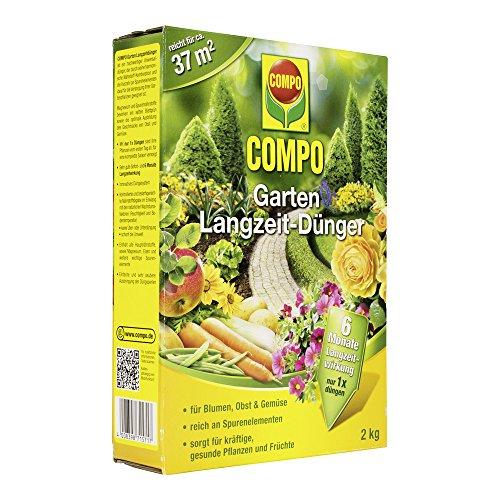 COMPO Garten Langzeit-Dünger für alle Gartenblumen, Obst und Gemüse, 6 Monate Langzeitwirkung, 2 kg, 37m²