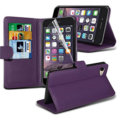 Fone-Case Red Apple iPhone 6S Plus étui Cover Case Portefeuille exécutif Cover style Made De PU cuir avec 3 fentes de crédit titulaire de la carte, 1 Protecteur d'écran et 1 code couleur aluminium rég Purple Wallet Case