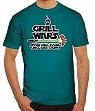 Grillen Grill Garten Party Herren Männer T-Shirt Rundhals Flamme Grill Wars - Möge Das Steak mit Dir Sein, Größe: XXL,Diva