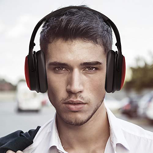 TaoTronics Noise Cancelling Kopfhörer Bluetooth Kopfhörer Over Ear mit aktiver Rauschunterdrückung 25 Std. Laufzeit, TT-BH22 eingebautes Mikro CVC 6.0, duale 40 mm Tieftontöner, Faltbare Ohrhörer rot - 5