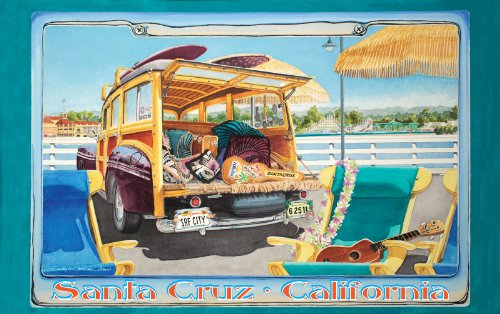 Price comparison product image Northwest Art Mall Santa Cruz California Surfer Girl on License Plate Artwork by Evelyn Jenkins Drew, 11-Inch by 17-Inch