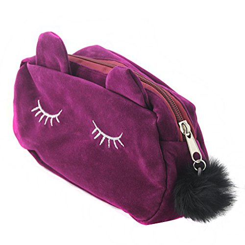 MagiDeal Women Girls Travel Carry Cute Cat Pencil Pen Case Cosmetic Pouch Brush Makeup Storage Kids Pen Pencil Holder Bag - Purple