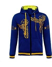 BUSIM Men's Long Sleeve Sweater Fall Winter Phoenix Print Casual Slim Hooded Pullover Sweatshirt Jacket Jacket...