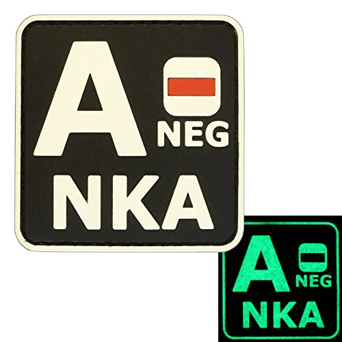 Image of Glow Dark ANEG A- NKA Blood Type No Known Allergies Tactical Morale PVC Rubber Fastener Patch