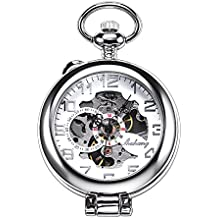 TREEWETO Steampunk Mechanical Pocket Watch For Men Women Silver Case Skeleton Dial with Chain +Box