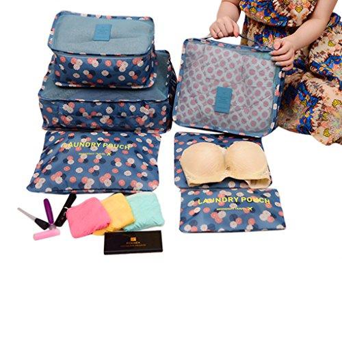 BAO CORE-Confezione da 6 cubetti da viaggio per bagagli, in imballaggio Packers, i vestiti biancheria da lavare la borsa da toletta Organizzatore Pouch Bag-in-Set per vestiti da donna, intimo Socks reggiseno, accessori da toeletta, colore: azzurro con motivo a pois, colore: blu/giallo/smile Blue Flower