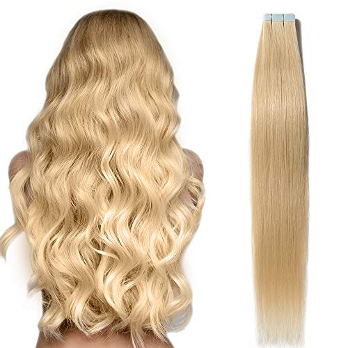 Extension capelli adesive naturali biondi lisci umani 20 fasce 50g tape extension 100% remy human hair 2.5g/fascia 45cm 18