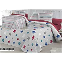 Dorte Hogar.- Bouti colcha cubrecama Reversible Argos para cama de 90 cm en medida 180 x 270 cm + 1 funda de cojin 60 x 60 cm
