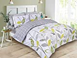 Dreamscene Luxurious Allium Duvet Set with Pillowcase, Polyester/Cotton, Grey, King