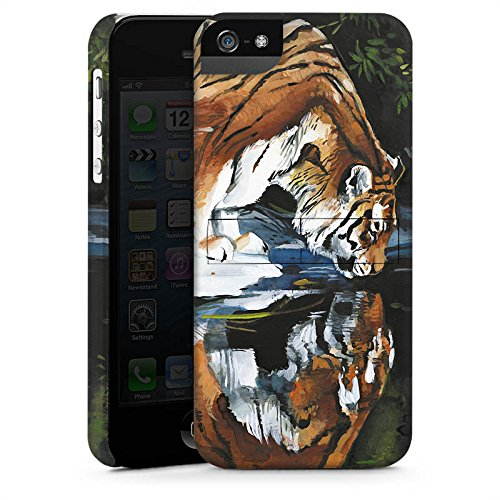 Apple iPhone 5s Housse Étui Protection Coque Tigre Eau Water CasStandup blanc