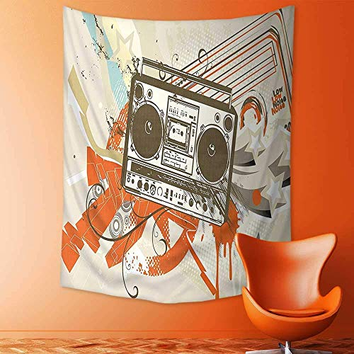 daawqee Tapestry Wall Hanging Style Urban Background in Graffiti Style with Cool Boom Box Illustration Beige and for Bedroom Dorm 150x200 cm Unique Home Decor
