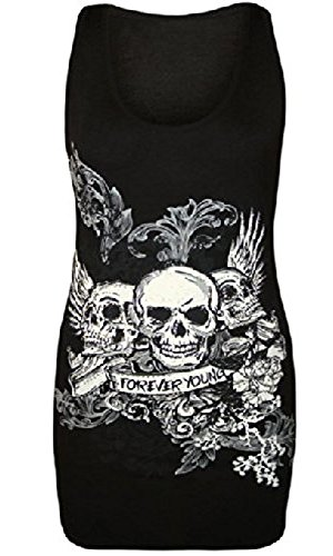 Fashion Essentials-Womens Skull Forever Young Stampa Racer Indietro maniche signore Canotta   Black