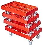 4 Stück Transportroller für Kisten 60 x 40 cm mit 2 Bremsen