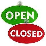 Open - Closed (geöffnet-geschlossen) Ladentürschild Türschild Schild beidseitig bedruckt mit Saugnapf und Haken 230 x 130 mm