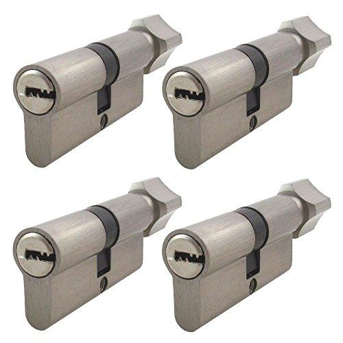 Preisvergleich Produktbild 4 Stück 80 mm mit Knauf gleichschließende Zylinderschlösser mit Knauf und jeweils 5 Schlüssel für jedes Schloss