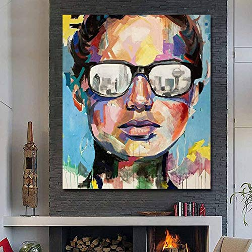 ZXCVB ÖlgemäldeHand Painted Abstract Fine ArtPortrait Oil Painting Pictures On Canvas Modern Home Decorative for Living Room no Framed,70x100cm