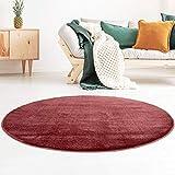 Taracarpet Kurzflor-Designer Uni Teppich extra weich fürs Wohnzimmer, Schlafzimmer, Esszimmer oder Kinderzimmer Gala rot 120x120 cm rund