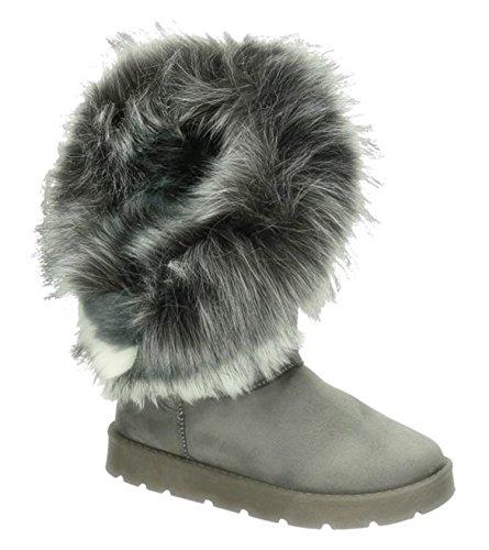 King Of Shoes Warm Gefütterte Bequeme Damen Stiefeletten Stiefel Boots Flache Schlupfstiefel Winter Langschaft 896 (37, Grau)