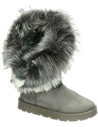5a45bce258c9f9 King Of Shoes Warm Gefütterte Bequeme Damen Stiefeletten Stiefel Boots  Flache Schlupfstiefel Winter…