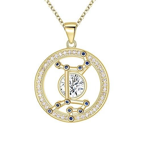 e720ac52218f FANZE Mujer Plata de Ley 925 CZ Horóscopo Zodiaco 12 Constelación Colgante  Collar Oro Regalo de