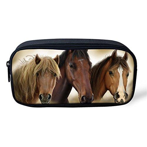 Coloranimal Crazy 3d Cheval Imprimé Trousse Pochette Fermeture à Glissière Maquillage Cosmétique Sac 8.66 inch(L) x1.77 inch(W) x4.33 inch(H) horse-11