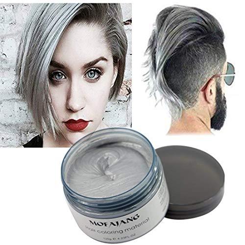 Haarfarbe Wachs, natürliche Matte Frisur für Party. Cosplay, Halloween (Slivere Grau)