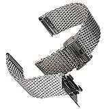 Cinturino orologio Geckota Acciaio inossidabile Maglia milanese Lucido Argento 22mm