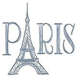 Wandtattoo Fashion Schriftzug Paris mit Eiffelturm Mode Wandsticker Dekoration