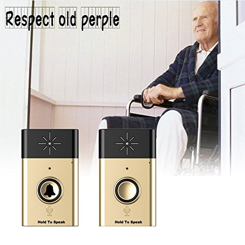 Wireless Intercom Doorbell - BW Wireless Voice Doorbell and Wireless Chime Doorbell Support Two-Way Voice Intercom Operating at Over 300m Include 1 Receiver and 1 Push Button for Home and Office - Golden