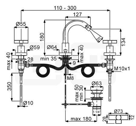 DIBL extra Zweigriff-Bidet-3-Loch-Batterie mit Ablaufgarnitur Griffpaar eckig